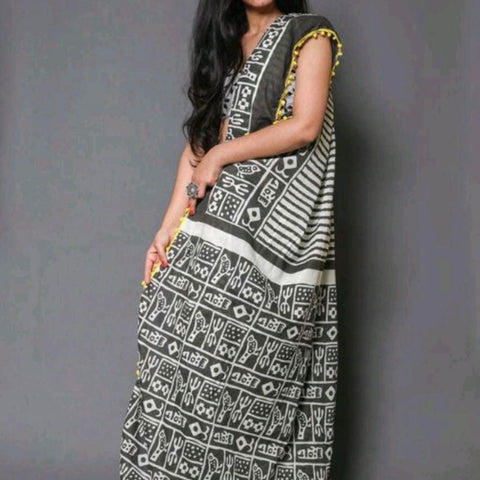 Hand Block Print Grey Stripes Mal Mal Saree