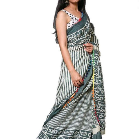 Hand Block Print Grey Blue Stripes Mal Mal Saree