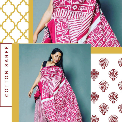 Hand Block Print Pink Stripes Mal Mal Saree