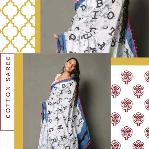 Hand Block Print White Marble Print Cotton Mal Mal Saree