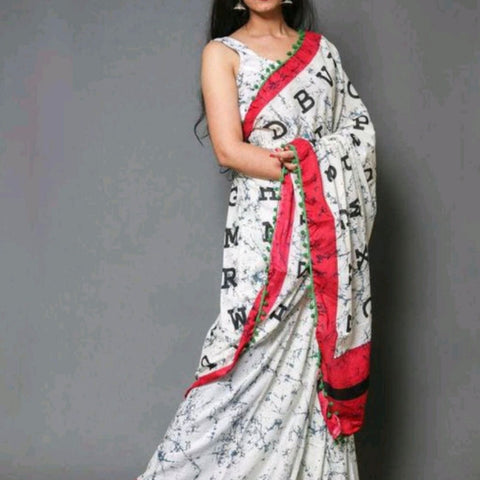 Hand Block Print White Alphabet Print Cotton Mal Mal Saree