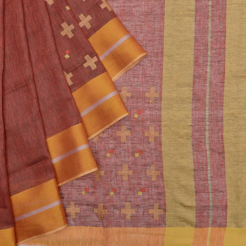 Bhagalpur linen brown jamdani Saree