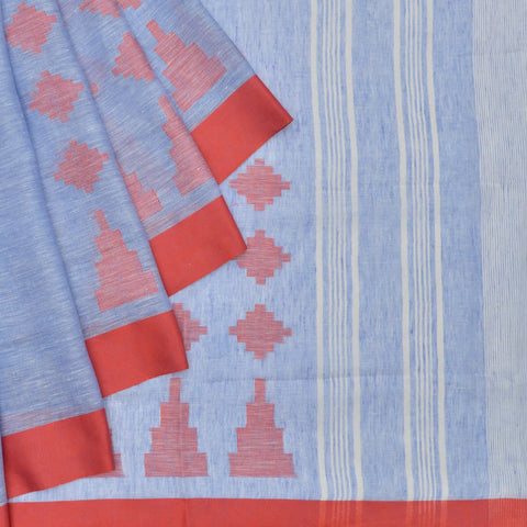 Bhagalpur linen powder blue jamdani Saree