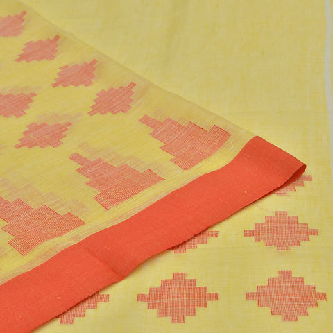 Bhagalpur linen lemon yellow jamdani Saree