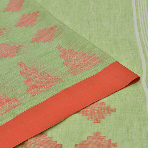 Bhagalpur linen powder green jamdani Saree