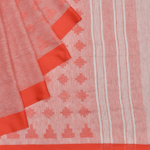 Bhagalpur linen pinkish red jamdani Saree
