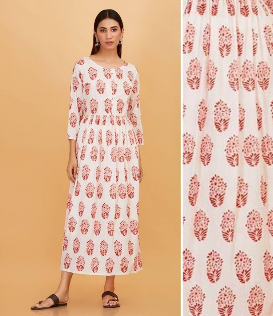 Hand Block White and Red Cotton Dress