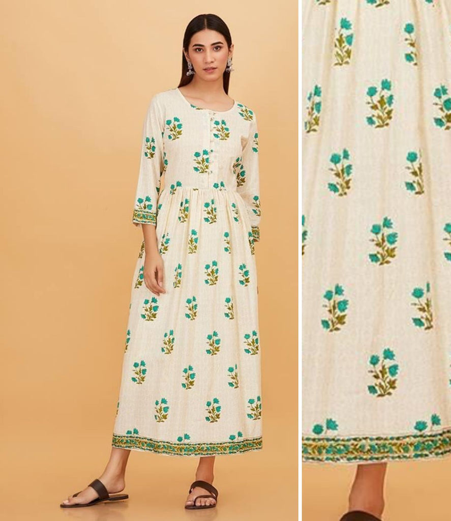Hand Block White and Green Cotton Dress