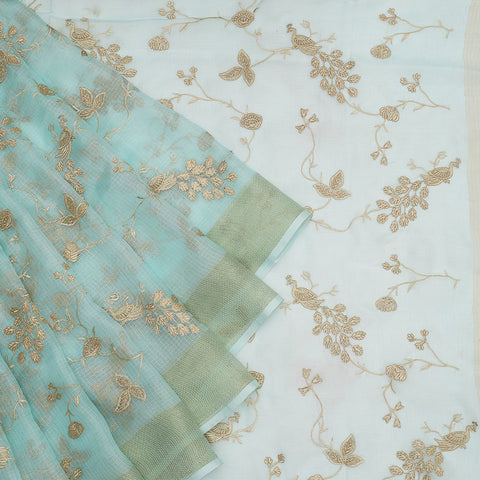 Handwoven kota silk pastel  Saree With parsi work embroidery Work