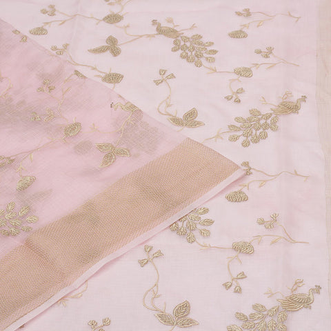Handwoven kota silk baby pink  Saree With parsi work embroidery Work