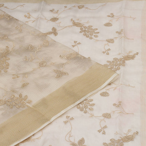 Handwoven kota silk cream  Saree With parsi work embroidery Work