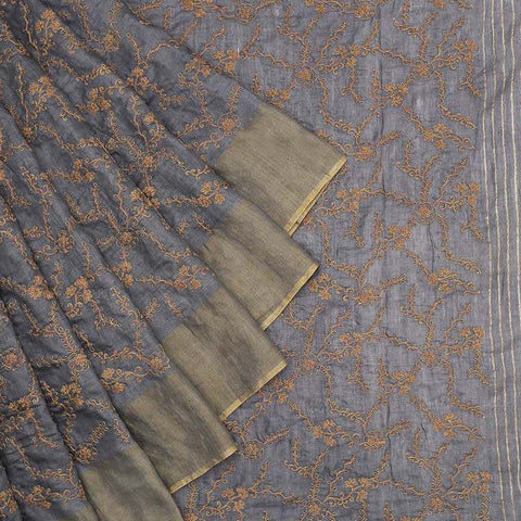 Handwoven muga tussar dark grey  Saree With parsi work embroidery Work