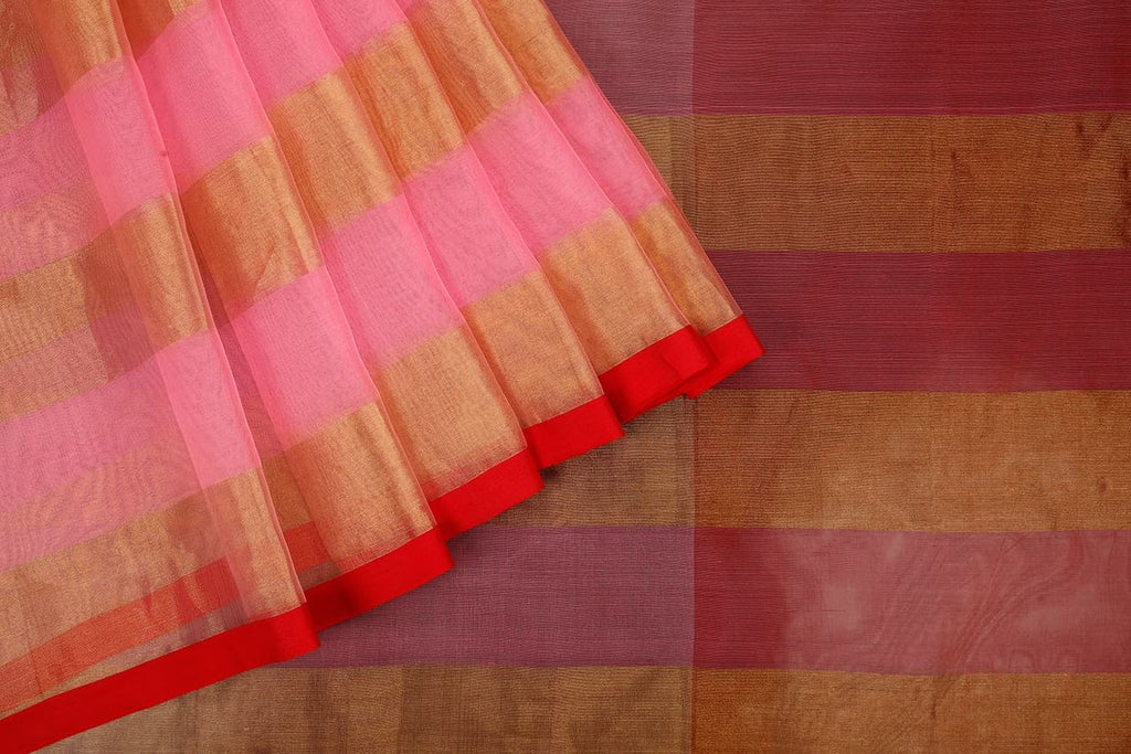 Handloom Silk Kota Hand Embellished Saree  In Pink