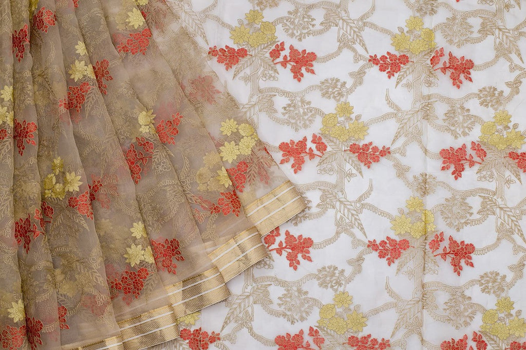 Handwoven Organza Cream Silk Saree With Red And Golden Floral Parsi Work