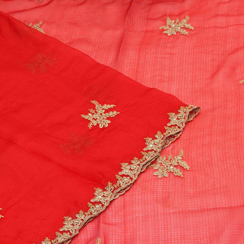 Handwoven kota silk red  Saree With Embroidery Work