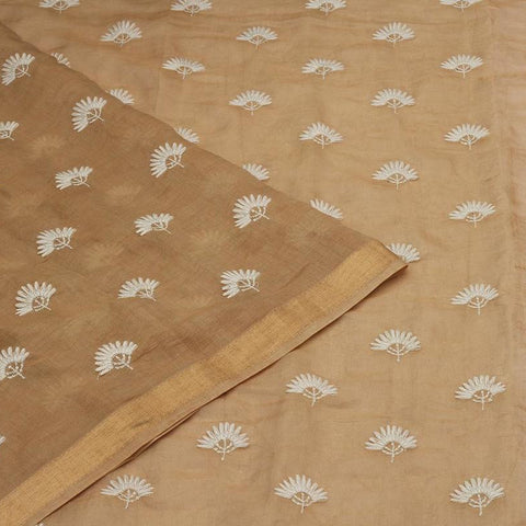 Handwoven chanderi beige  Saree With lucknowi chikankari Work