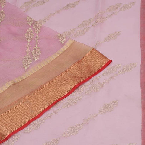 Handwoven maheshwari silk pastel  Saree With parsi work embroidery Work