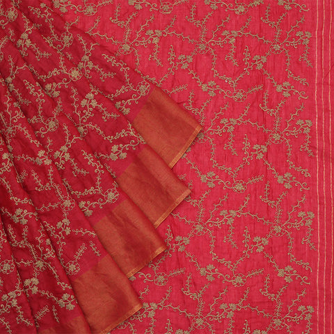 Handwoven Muga Tussar Maroon  Saree With Parsi Work Embroidery Work