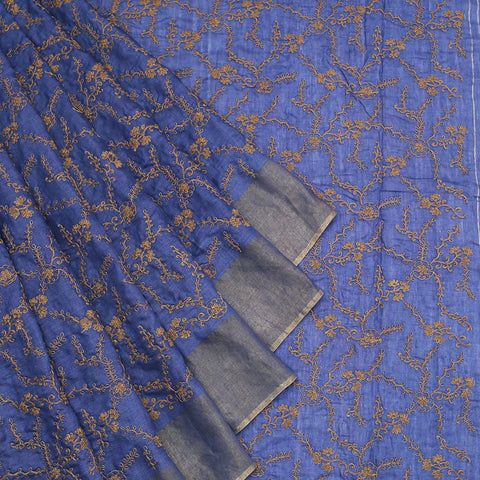 Handwoven muga tussar royal blue  Saree With parsi work embroidery Work