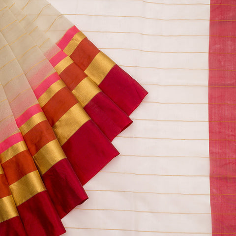 Handloom Organza Saree With Kutu Border In Cream