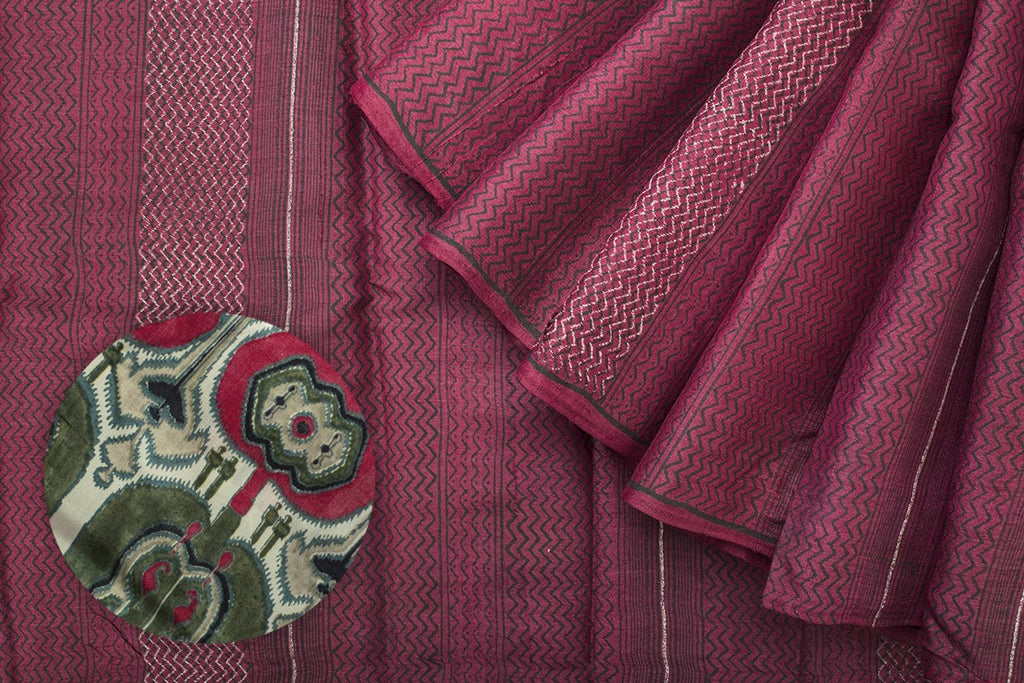 Handcrafted Cotton Hand Print Maroon Saree