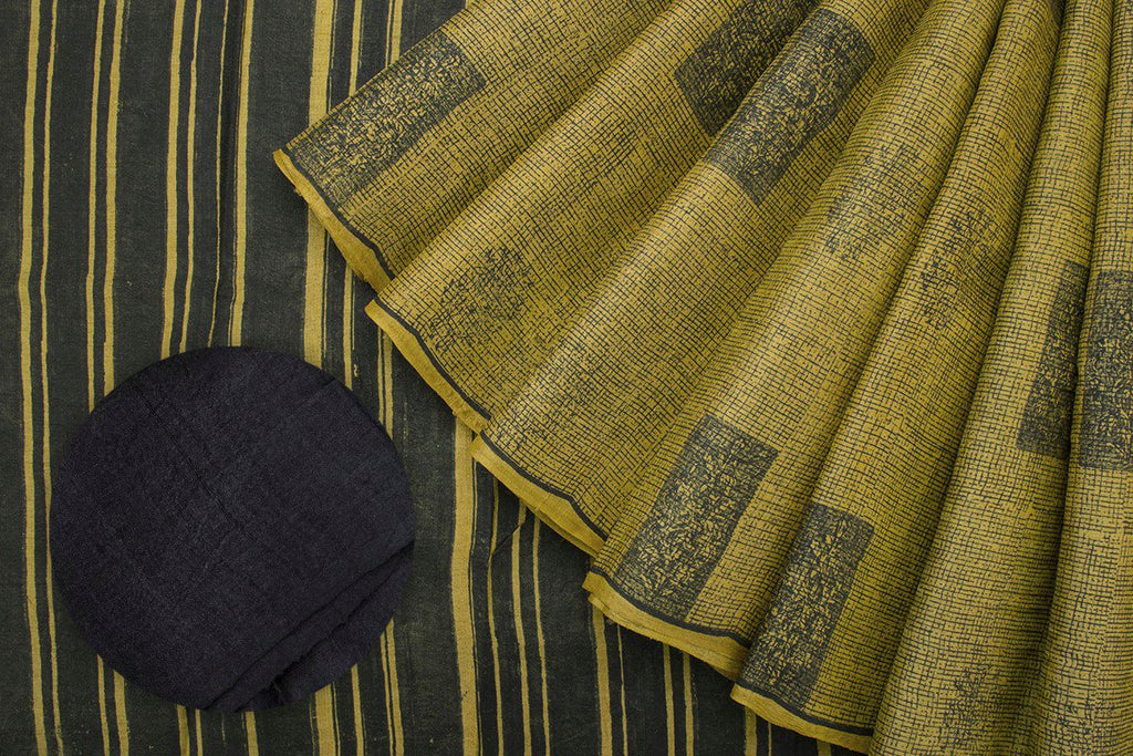 Handcrafted Cotton Hand Print Mustard Saree