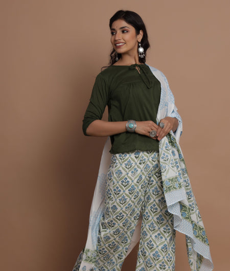 Hunter Green Top With Hand Block Print Blue Green Floral Jhal Palazzo Dupatta Set