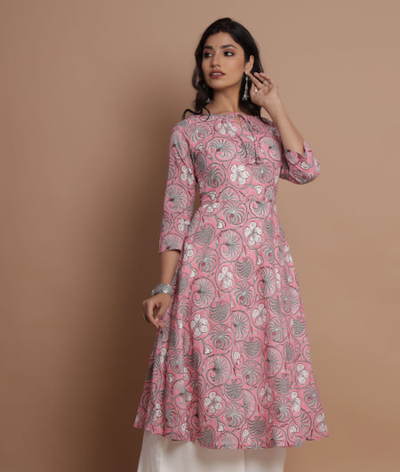 Hand Block Print Pink Floral Dress With Palazzo Set