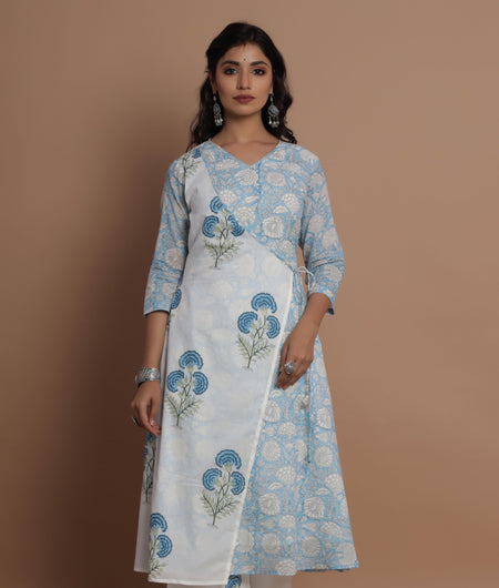 Blue Hand Block Print Angrakha Suit With Printed Palazzo And Dupatta Set