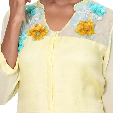 Butter cup organza double layer tunic