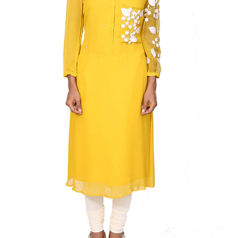 Canary yellow one side organza sleeve tunic