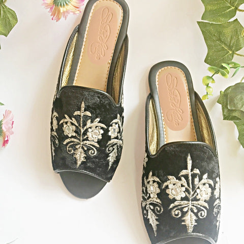 Black and Zari Loafers