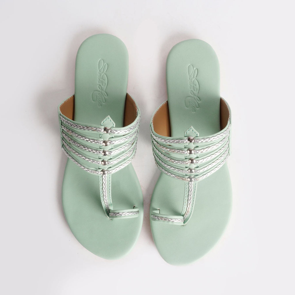 Sea Green Kolapuri Flat