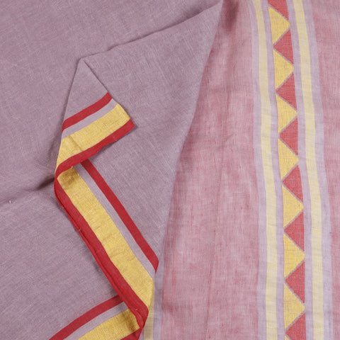 Bengal Linen Purple Saree With red and yellow stripes border