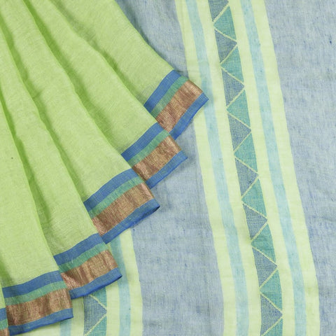 Bengal Linen Light green Saree With multicolor stripes border