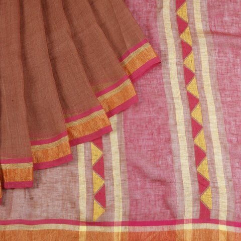 Bengal Linen Brown Saree With multicolor stripes border