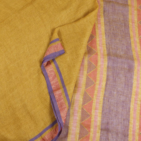 Bengal Linen Rust yellow Saree With multicolor stripes border