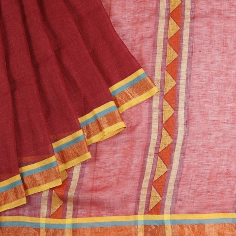 Bengal Linen Maroon Saree With multicolor stripes border