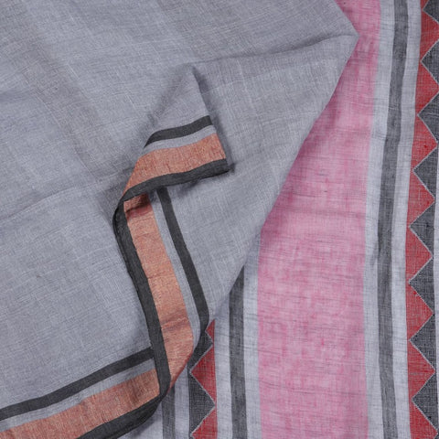 Bengal Linen Grey Saree With multicolor stripes border