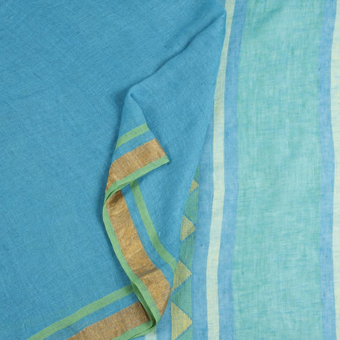 Bengal Linen Sky blue Saree With green and golden border