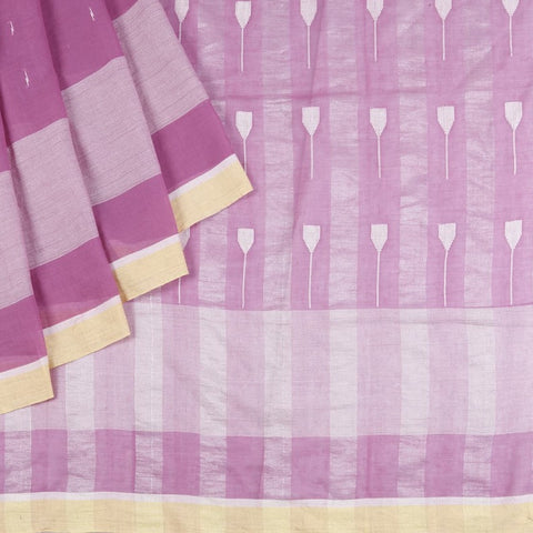 Bengal Khadi Rose Pink Saree With yellow and white stripes border