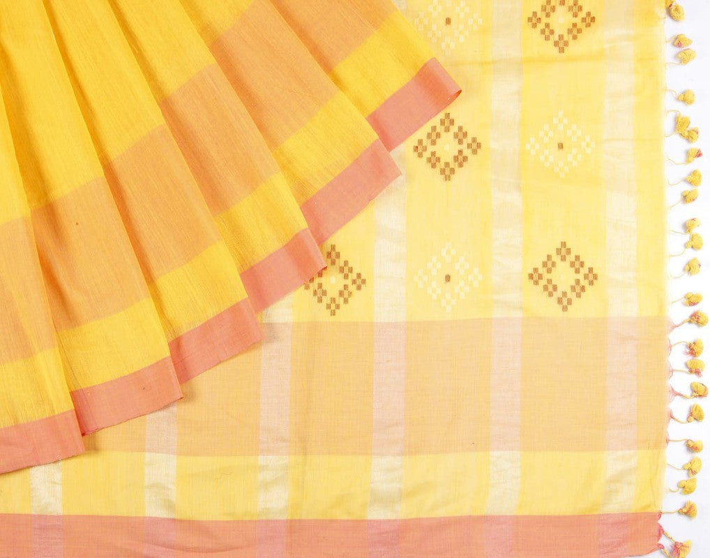 Bengal Khadi Chrom Yellow Saree With Pink Thin Border