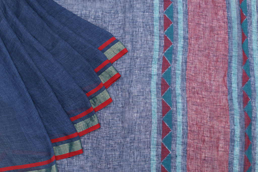 Bengal Linen Blue Saree With Silver And Red Stripes Border