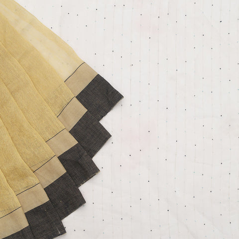 Bengal Linen Beige Saree With black and cream border