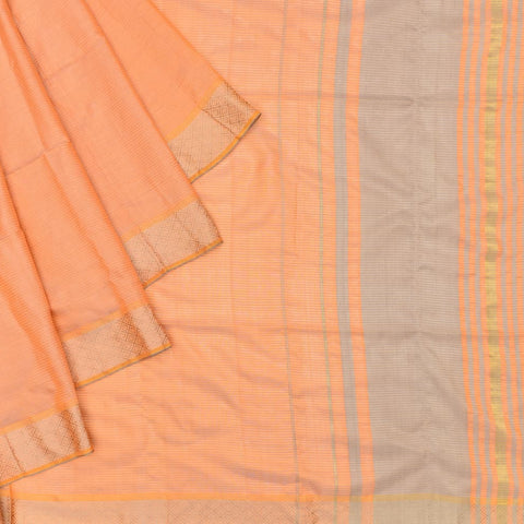 Bengal tussar silk peach plain Saree