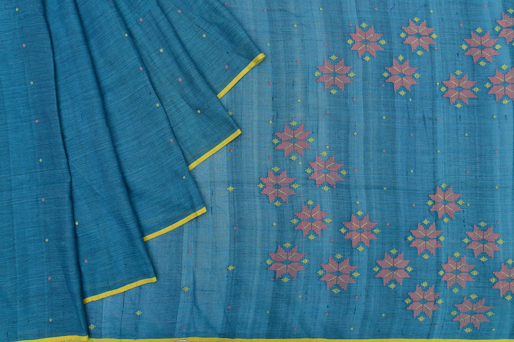 Bengal silk blue plain with yellow dots Saree