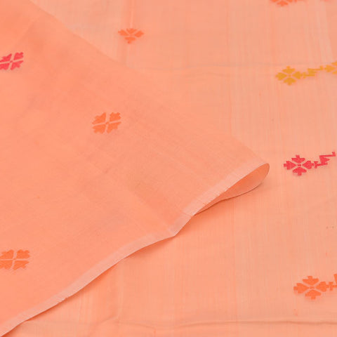 Bengal silk peach red dots Saree