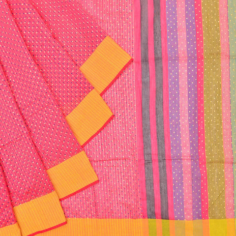 Bengal silk pink blue and yellow dots with stripes Saree