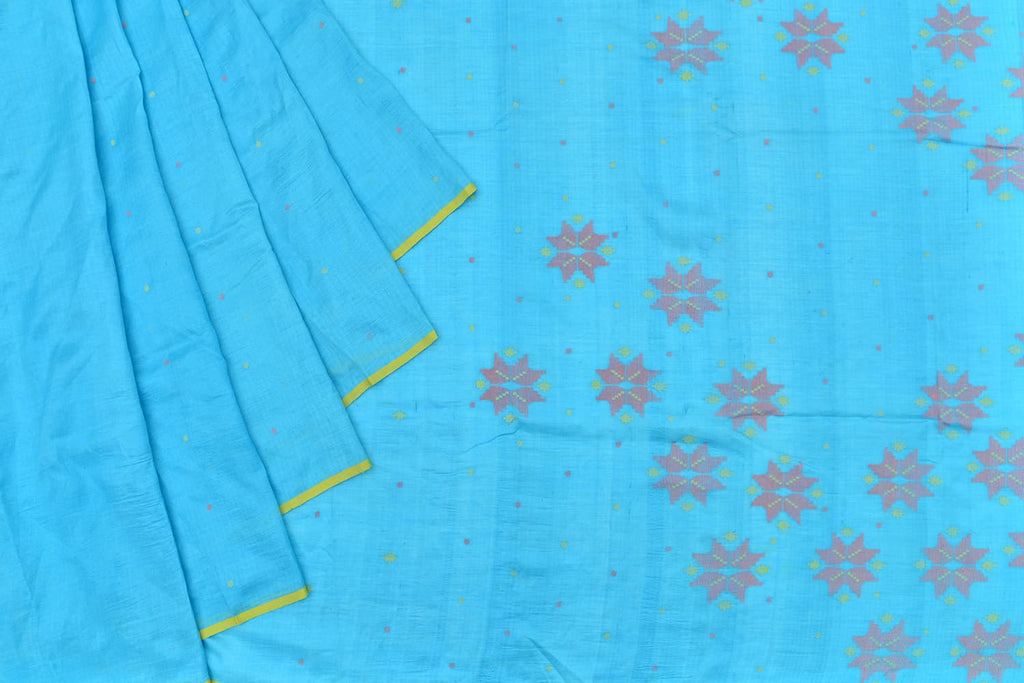 Bengal silk sky blue pink dots Saree