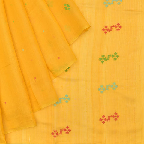 Bengal silk yellow multicolor dots Saree